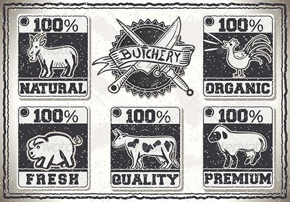 GraphicRiver Vintage Page for Butcher Shop Labels 7186400