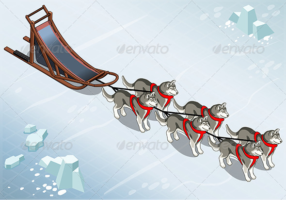 GraphicRiver Isometric Sled Dogs in Front View on Ice 7186413