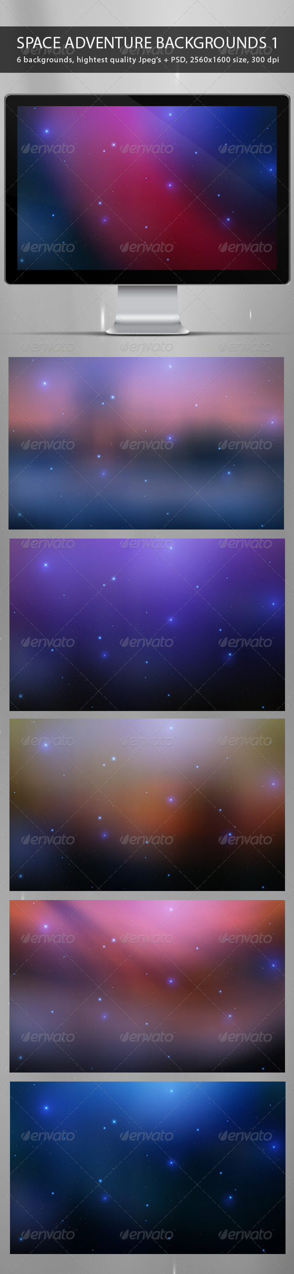 GraphicRiver Space Adventure Backgrounds Part 1 7186575