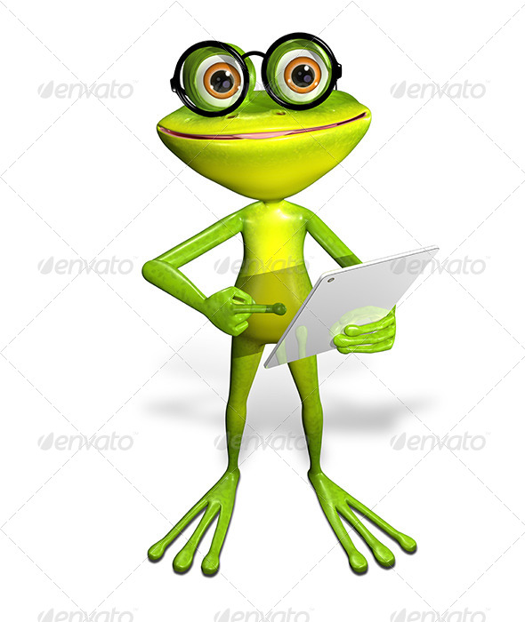 GraphicRiver frog with a tablet 7186675