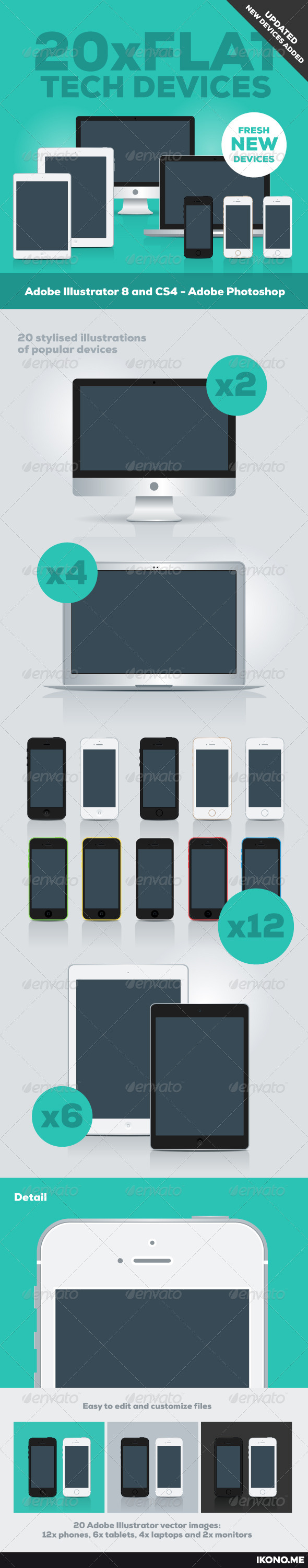 20 Flat Tech Devices - Vectors