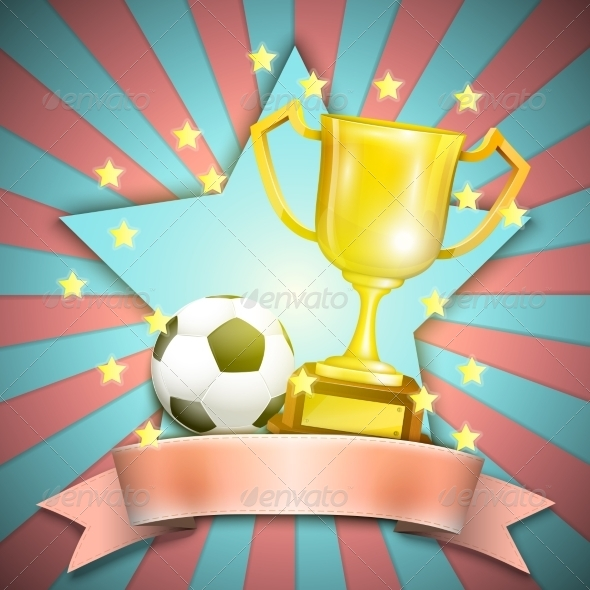 GraphicRiver Soccer Retro Poster with Trophy Cup and Ball 7187954
