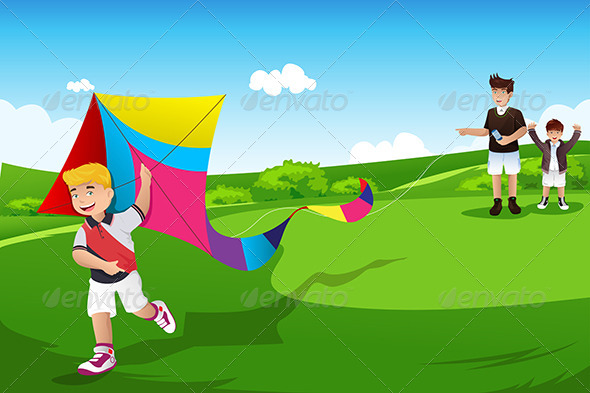 GraphicRiver Boys Flying Kite with their Dad 7191269
