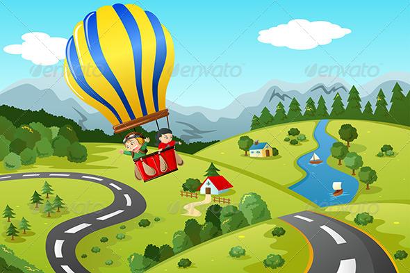 GraphicRiver Kids Riding Hot Air Balloon 7191548