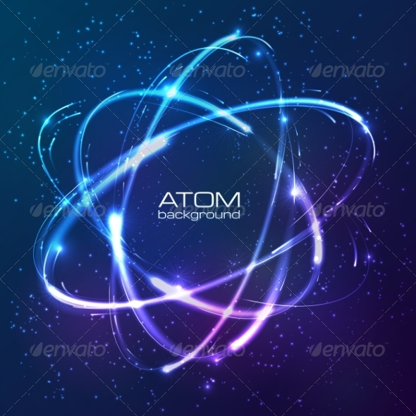 GraphicRiver Shining Neon Lights Atom Model 7192121