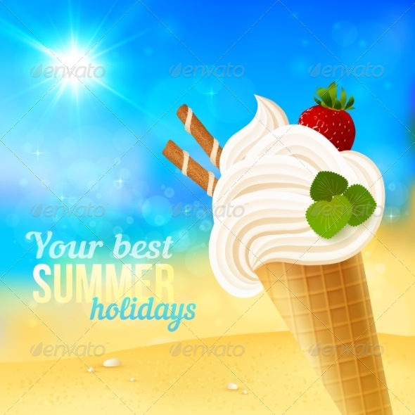 GraphicRiver Soft Strawberry Ice-Cream on Beach Background 7192425