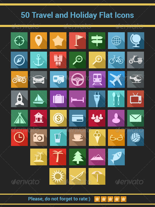 GraphicRiver Travel and Holiday Flat Icons Set 7192869