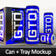 Energy Drink Sleek Can plus Tray Mockup - GraphicRiver Item for Sale