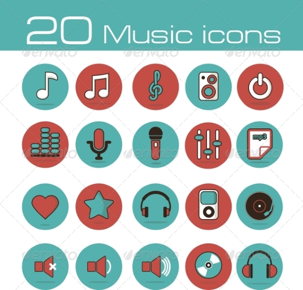 GraphicRiver Music Icons Set 7192934