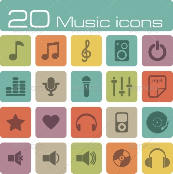 GraphicRiver Music Icons Set 7192937