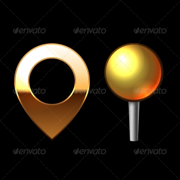 GraphicRiver Gold Mapping Pins Set 7193942