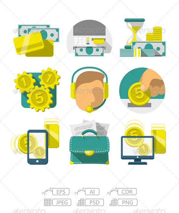 GraphicRiver Flat Banking Icons 7194192