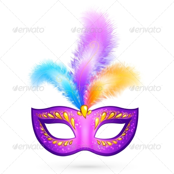 GraphicRiver Violet Carnival Mask with Feathers 7194516
