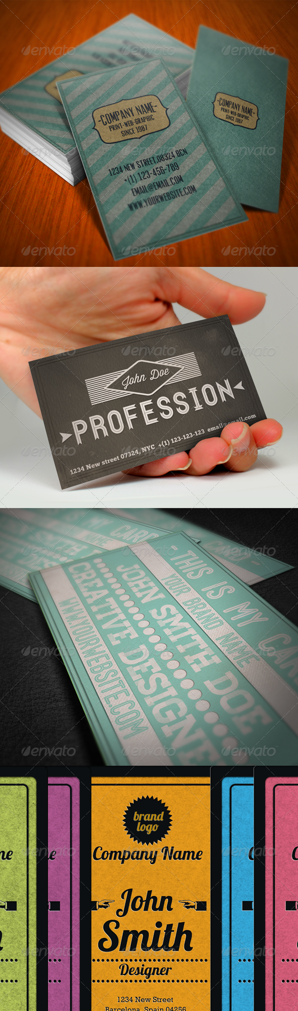 Vintage Business Card Bundle - Retro/Vintage Business Cards