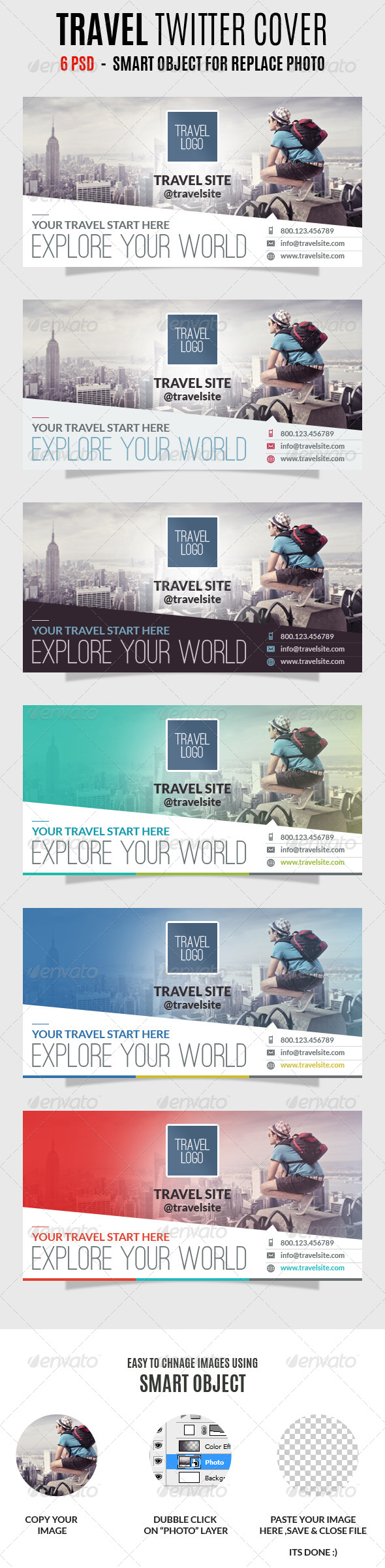 GraphicRiver Travel Twitter Covers 7196576