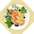 Salmon rolls in crepes with greens on white plate. - PhotoDune Item for Sale