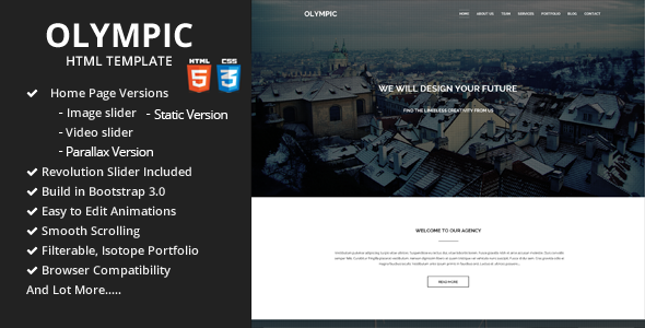 ThemeForest Olympic One Page Parallax Template 7198276