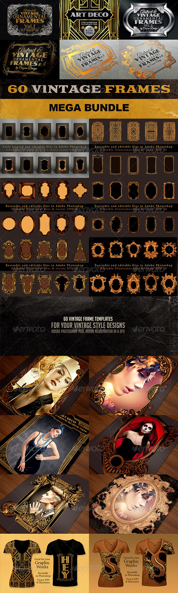 GraphicRiver 60 Vintage Frame Templates Bundle 7198288