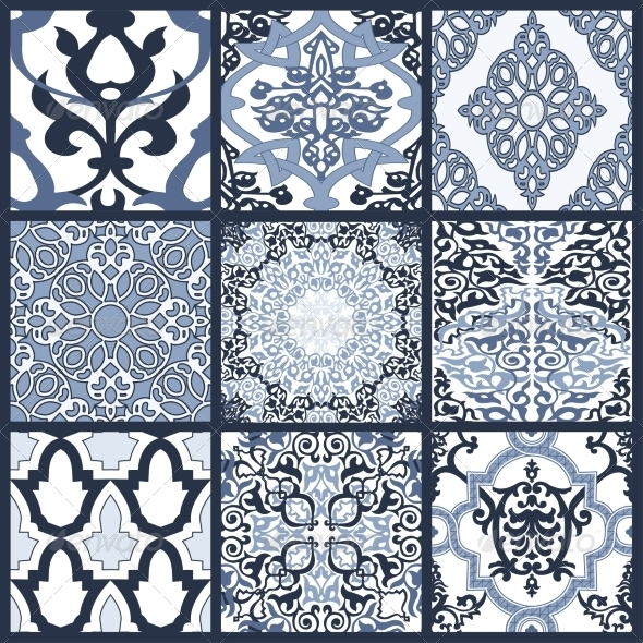 GraphicRiver Set of Seamless Patterns in Mosaic Ethnic Style 7199209