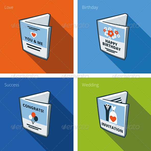 GraphicRiver Greeting Card Icons Set in Cartoon Style 7199236