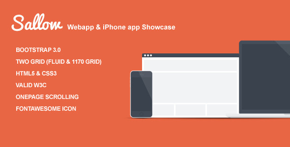 ThemeForest Sallow WebApp-iPhone App Landing Page 7133323
