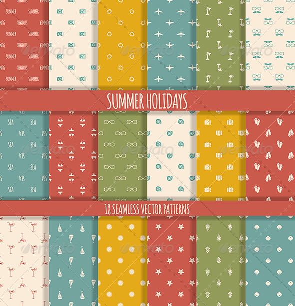 GraphicRiver 18 Summer Seamless Patterns 7120586