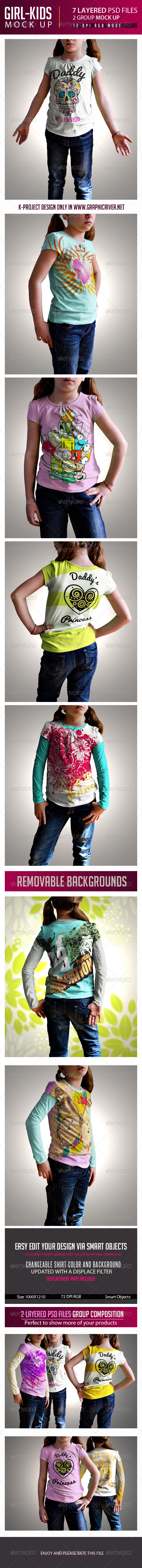 GraphicRiver Girl Kids T-Shirt Mock Up 7204419