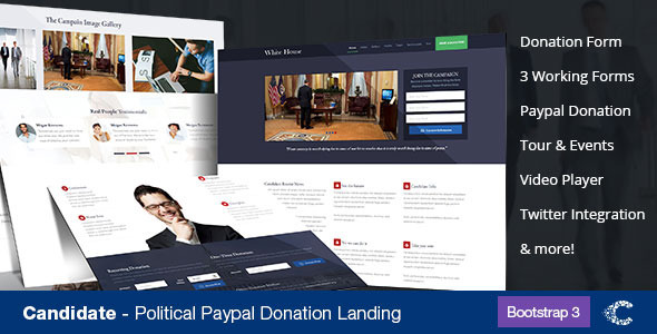 ThemeForest Candidate Political Donation Landing 7143739