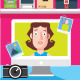 Woman Chatting on a Computer Screen - GraphicRiver Item for Sale