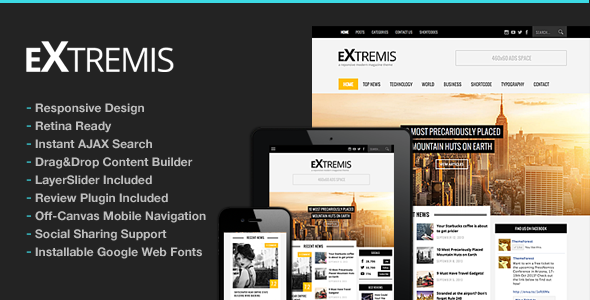 Extremis Responsive Magazine Theme - News / Editorial Blog / Magazine