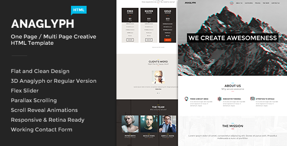 ThemeForest Anaglyph One Page Multi Page Creative Template 7186488