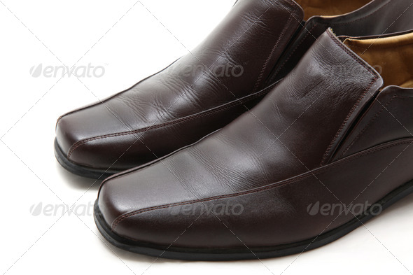 brown leather man shoes, closeup - Stock Photo - Images