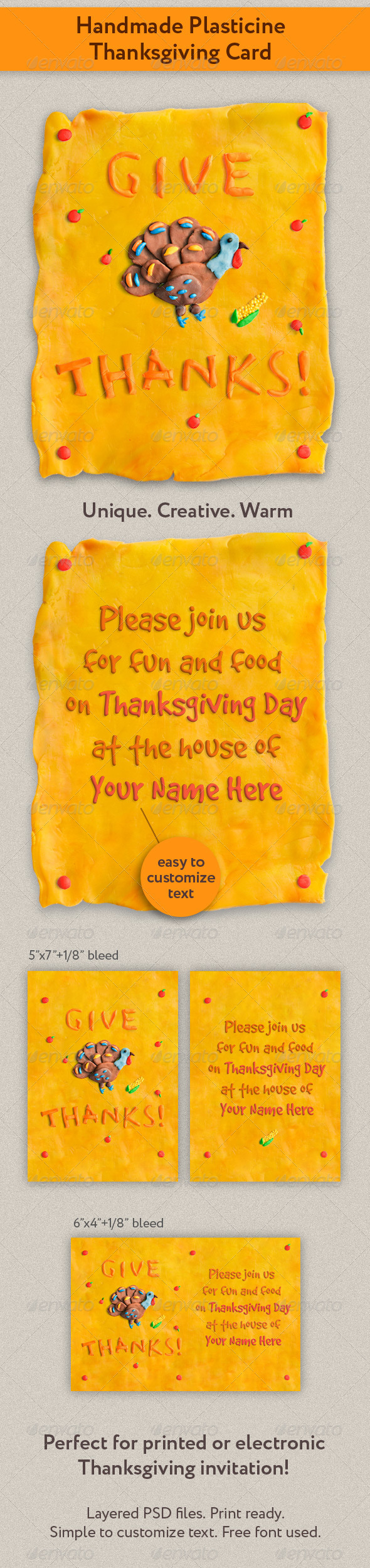 Handmade Plasticine Thanksgiving Card - Holiday Greeting Cards