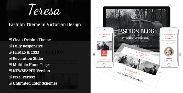 Teresa A One And Multi Page Fashion Theme By Gljivec