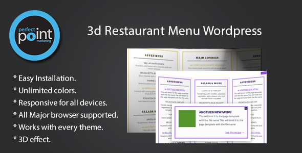 Description Restaurant Menu Wordpress is a jQuery 3D Menu list for your wordpress restaurant website. This plugin will enable awesome 3D Restaurant Menu. You ca