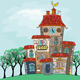 Vector Fairytale Multicolored House - GraphicRiver Item for Sale