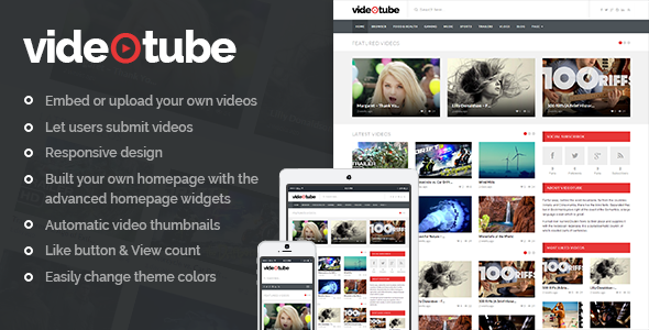 videotube a responsive video wordpress theme by phpface