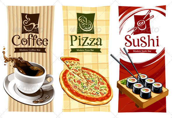 Template designs of food banners  - Food Objects