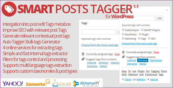 Plugin Information This plugin makes generating tags for posts much easier. Plugin has two main elements: integration into post editor panel Tags meta box and
