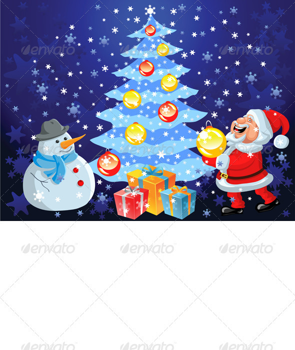 Vector happy Santa Claus and snowman decorate the  - Christmas Seasons/Holidays