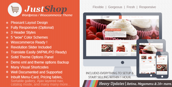 Justshop Cake - Bakery Food WordPress Theme