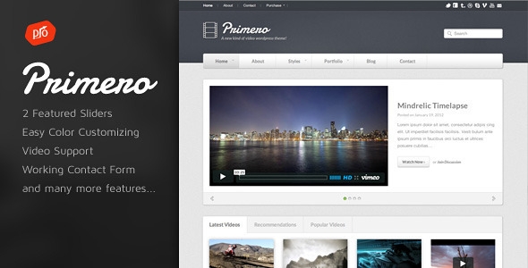Primero - Video Site Template - Portfolio Creative