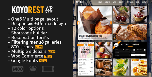Koyorest - Responsive Retina Restaurant WP Theme - Food Retail