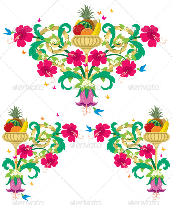 Graphic River Tropical Floral Borders ЁC Retro Vectors -  Decorative  Flourishes / Swirls 759367