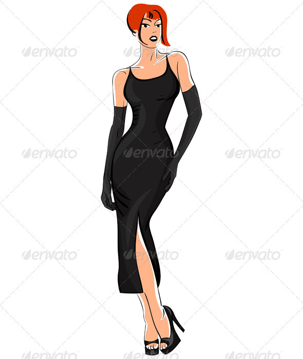 Graphic River Vector Little Black Dress Vectors -  Characters  People 759437