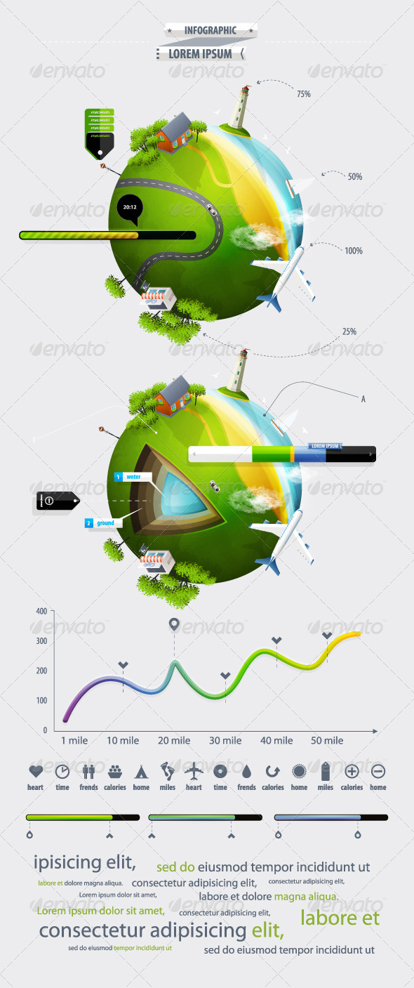 Graphic River Elements of Infographics with the Ball Planet Eart Vectors -  Conceptual  Travel 759817
