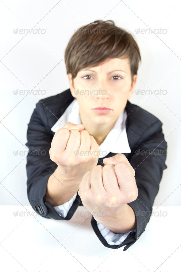 Business Woman Fighting - Stock Photo - Images