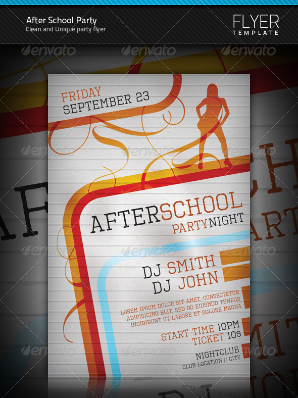 After School Party Flyer Template - Clubs & Parties Events