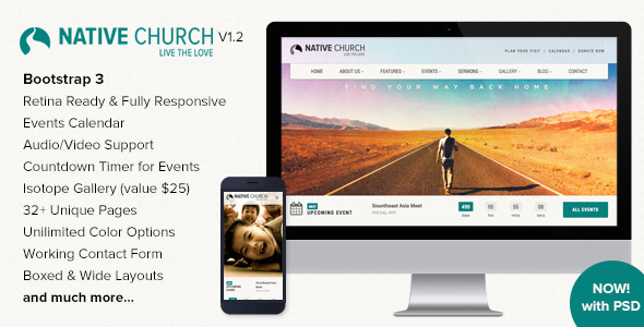 NativeChurch is a full functional HTML Template designed & developed for Church, Charity, Non-Profit and Religious Websites and comes handy for Portfolio/Co