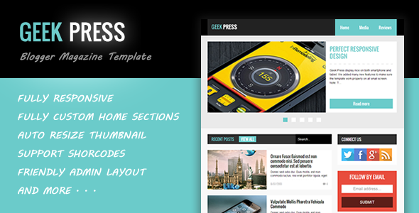 Geek Press - Responsive News & Magazine Template - Blogger Blogging